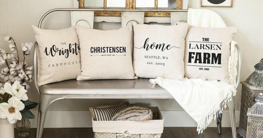 Farmhouse Pillowcases on bench