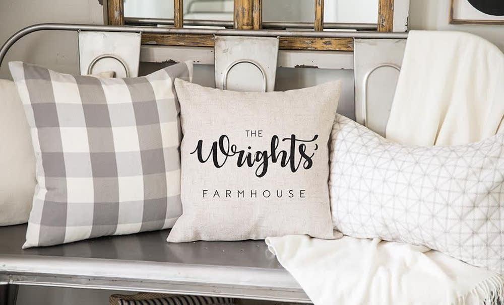 Farmhouse Script pillow Case on pillow