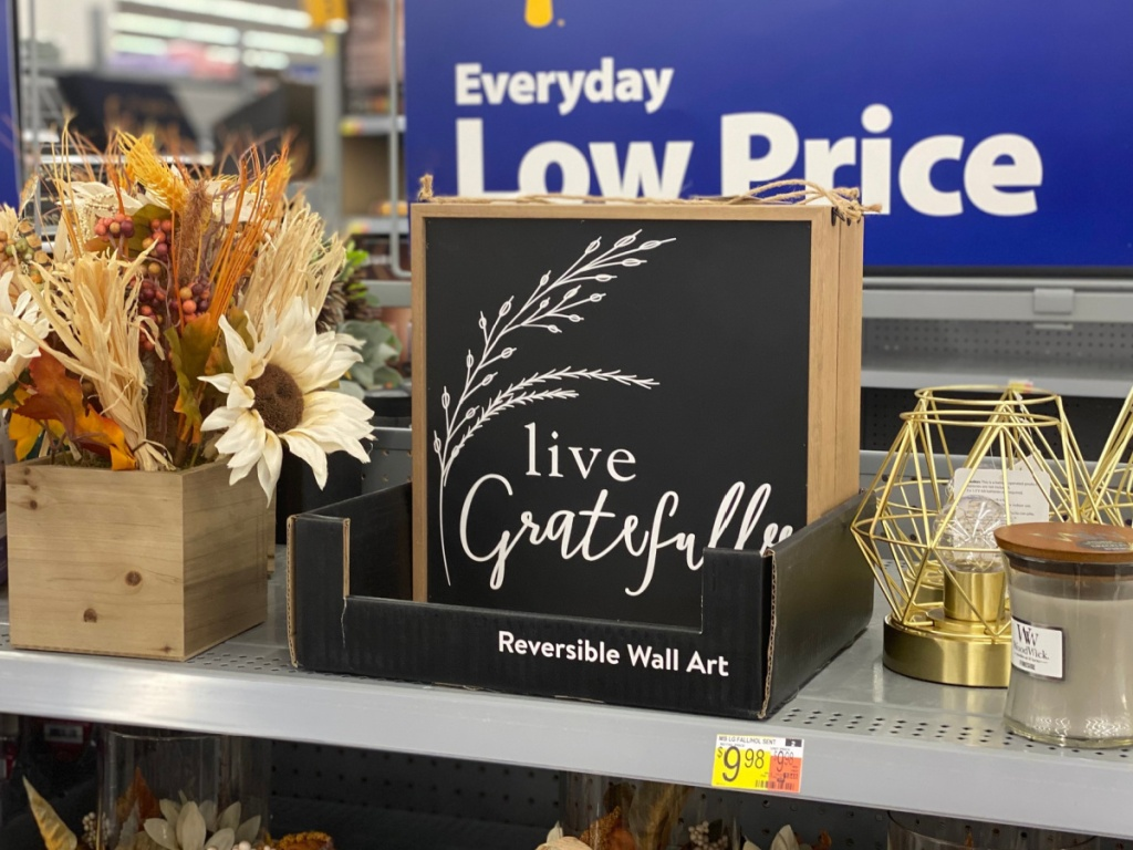 Live Gratefully Farmhouse decor sign on a shelf at walmart