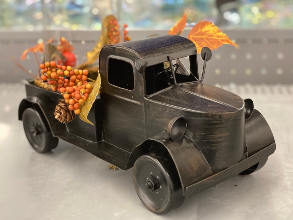 fall harvest truck in-store at Walmart