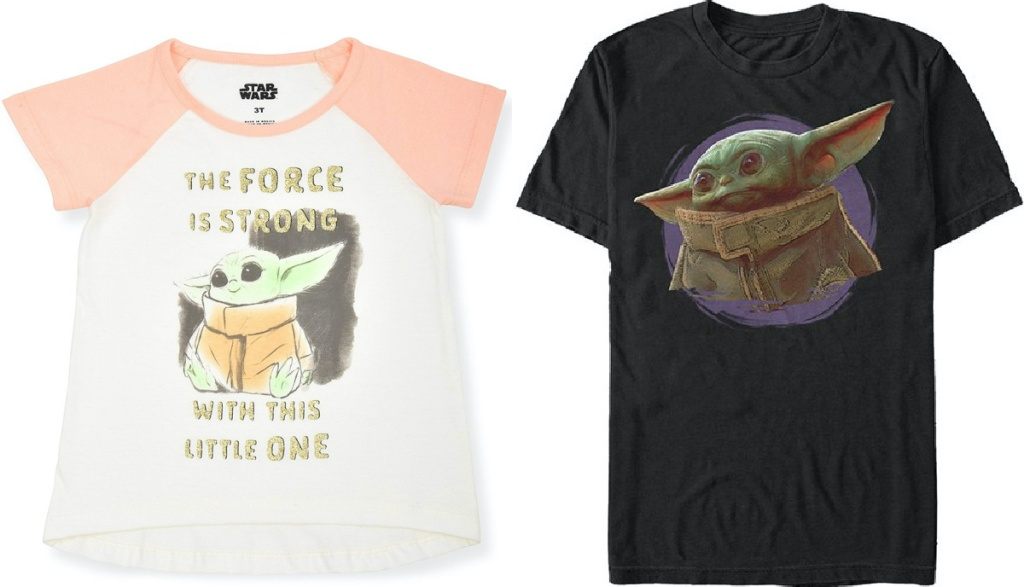 child and adult Baby Yoda tees