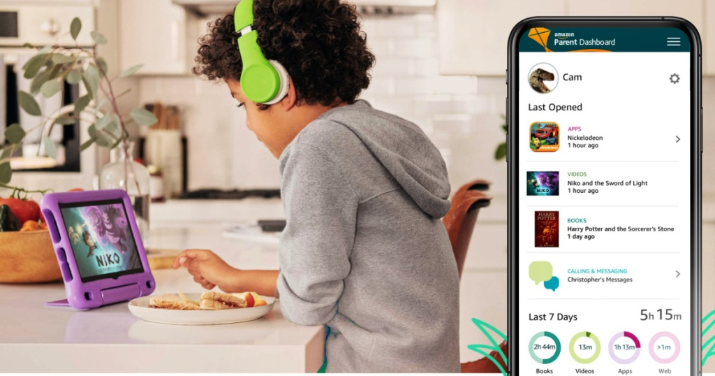 """kid watching a Fire HD 8 Kids Edition Tablet with 8"""" HD Display"""