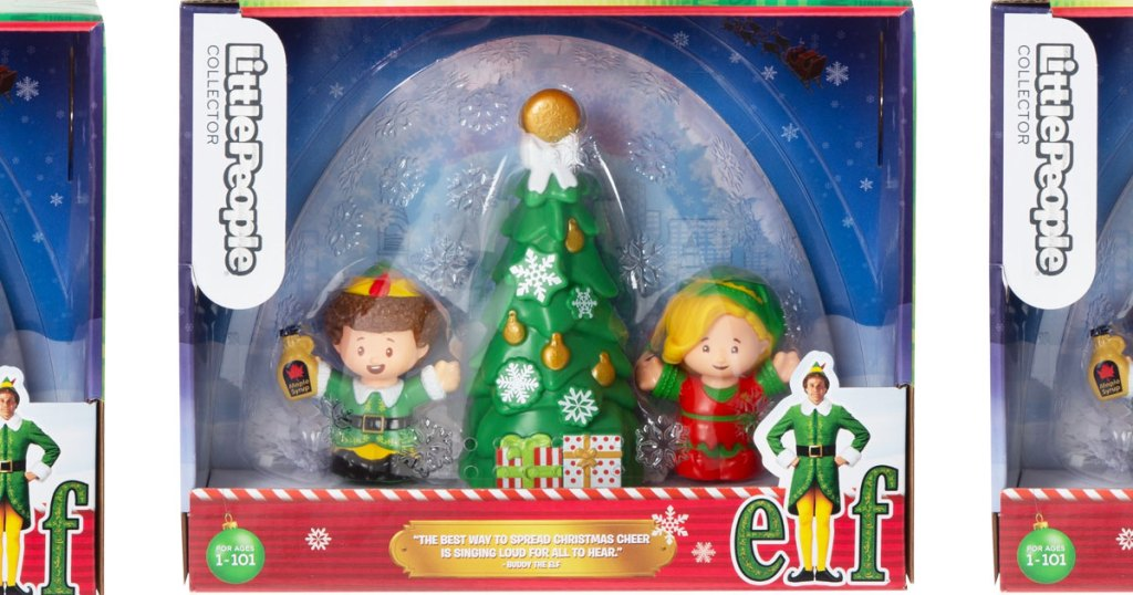 fisher price little people buddy the elf collectors set inside box that looks like a snowglobe