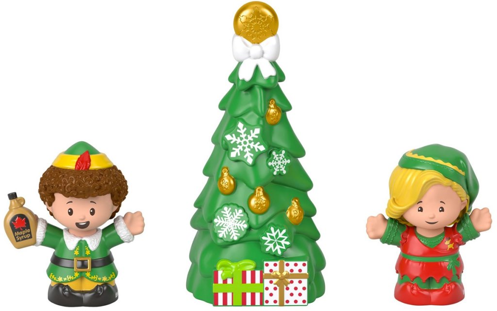 fisher price little people buddy the elf set with buddy, jovie, and tree figurines