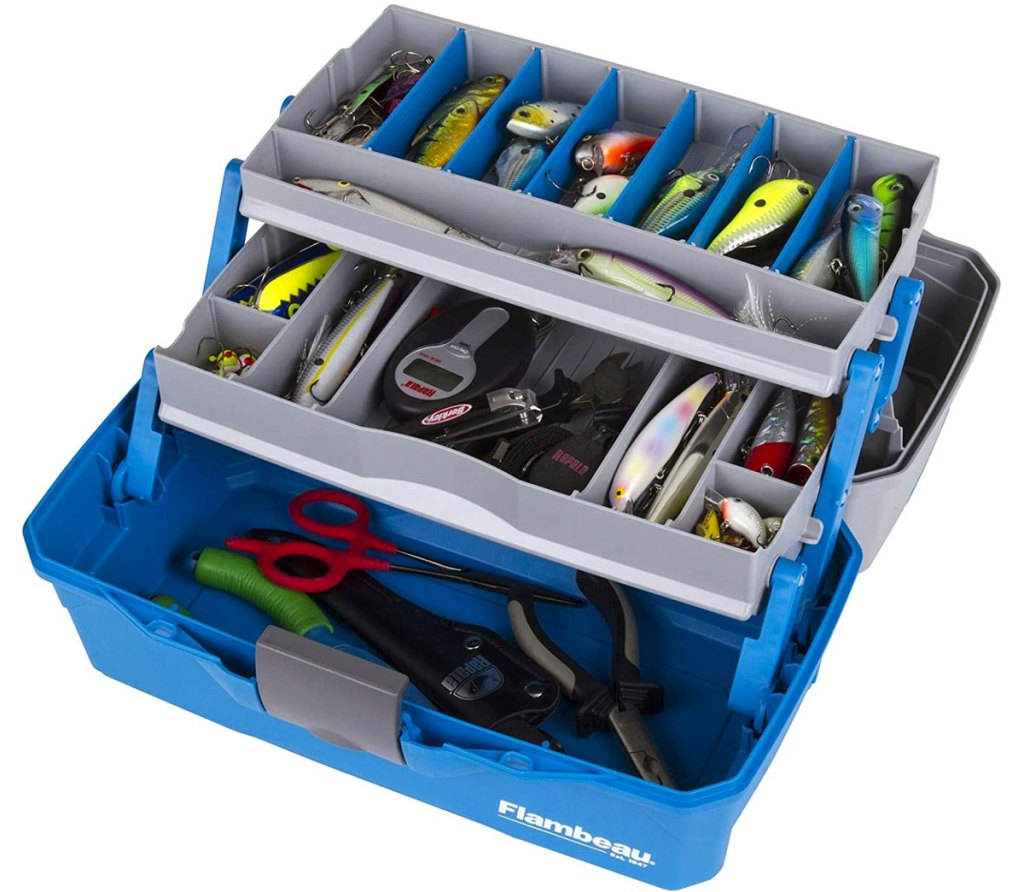 grey and blue fishing tackle box with multiple storage trays