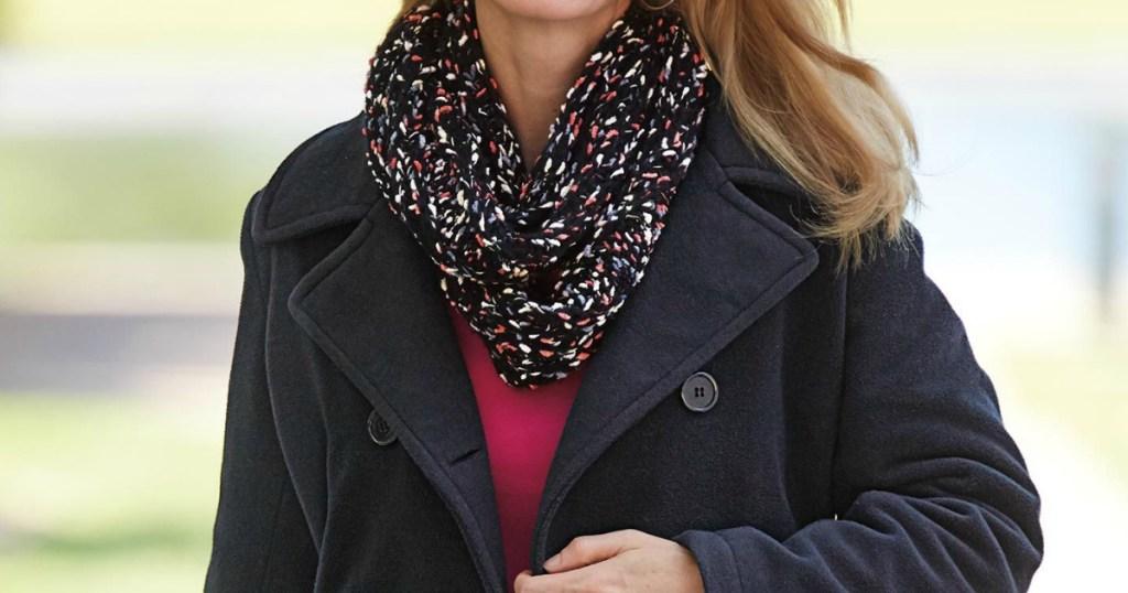 woman wearing fleece coat
