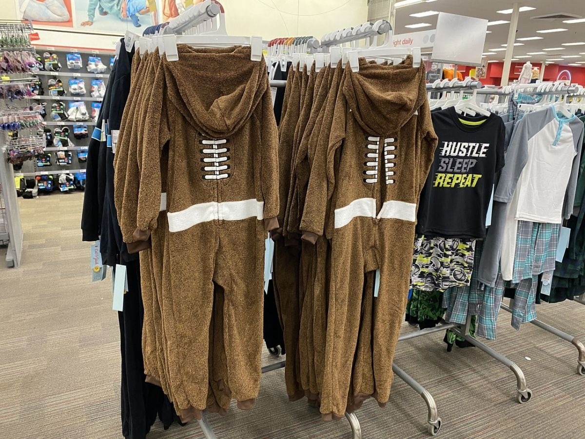 football union suits hanging in store