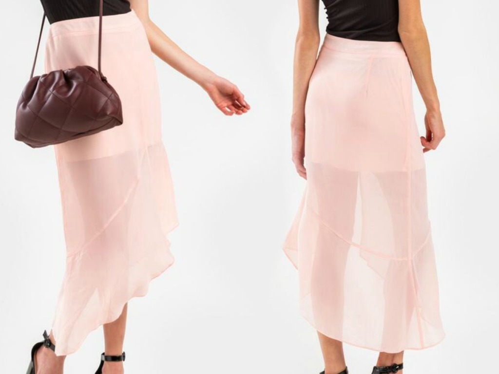 Front and back view of a woman wearing a light pink midi skirt