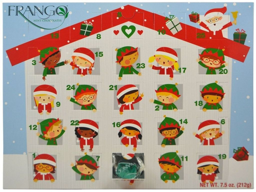 Frango Advent Calendar with elves in each window waving and one window open revealing a Frango chocolate