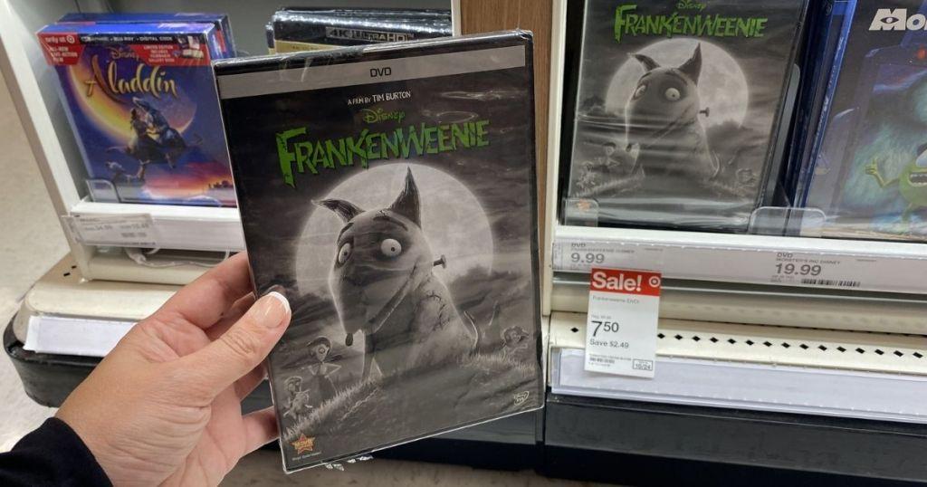 hand holding Frankenweenie DVD
