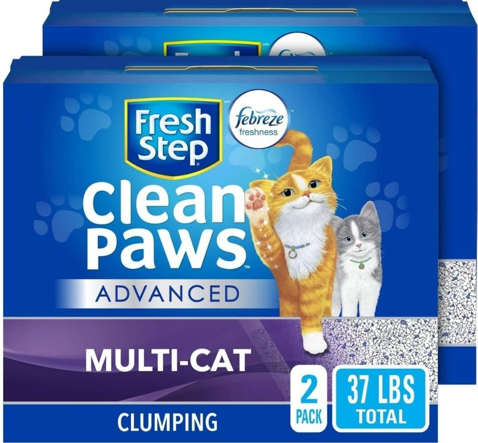 Two boxes of Fresh Step Clean paws Advanced Multi-Cat Litter