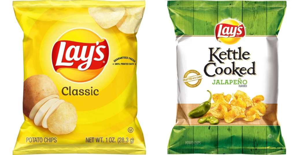 small bag of lay's classic chips and a small bag of lay's jalapeno kettle chips