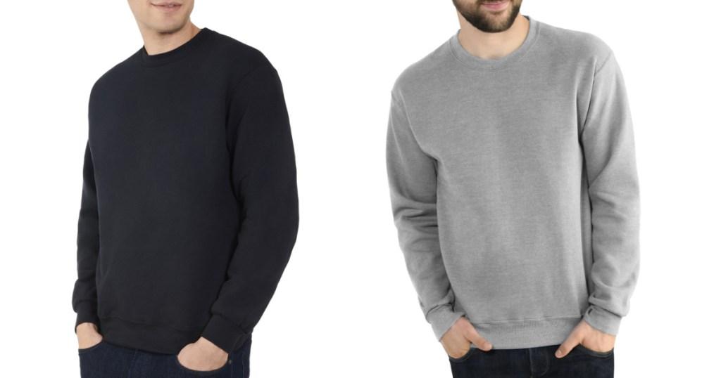 2 men wearing Fruit of the Loom Men's Crew Sweatshirt