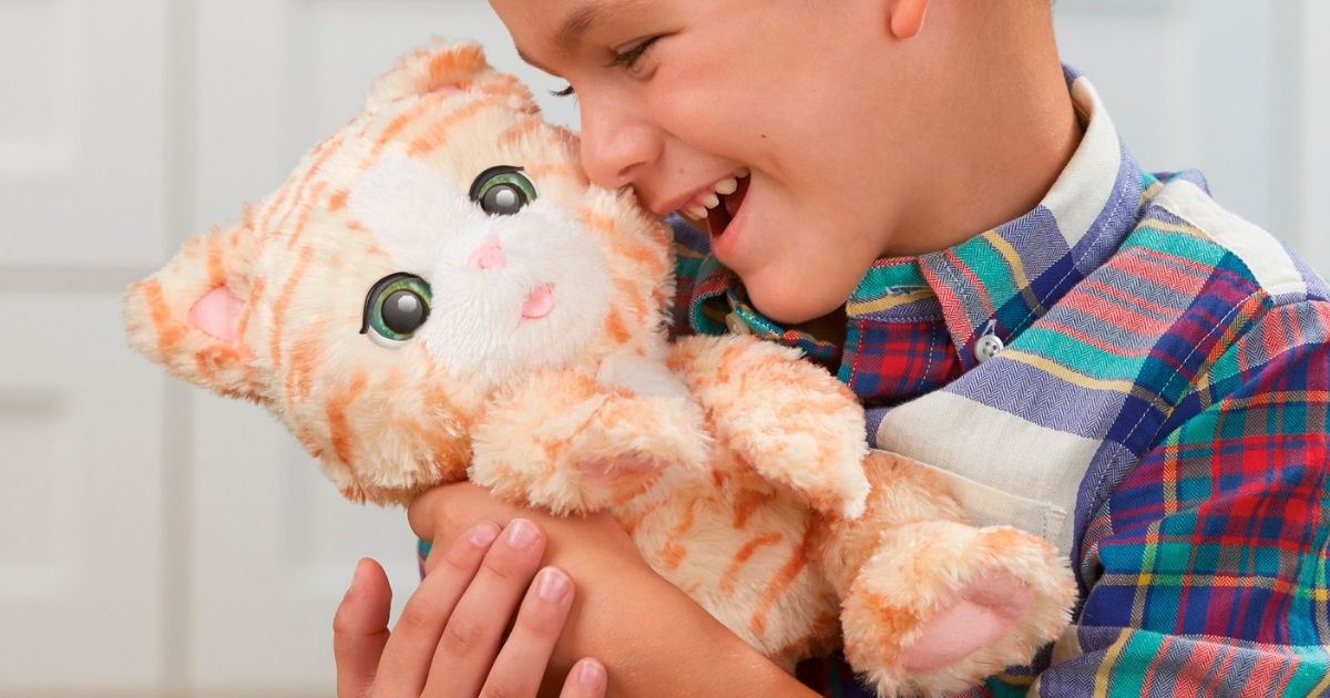 boy hugging toy kitten