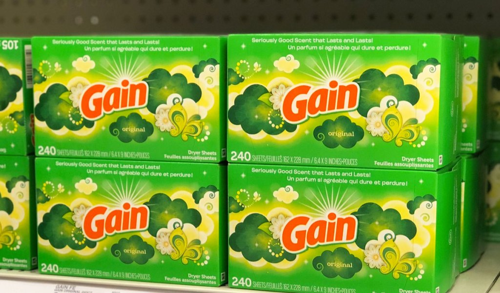 green boxes of gain fabric softener sheets on shelf at Target