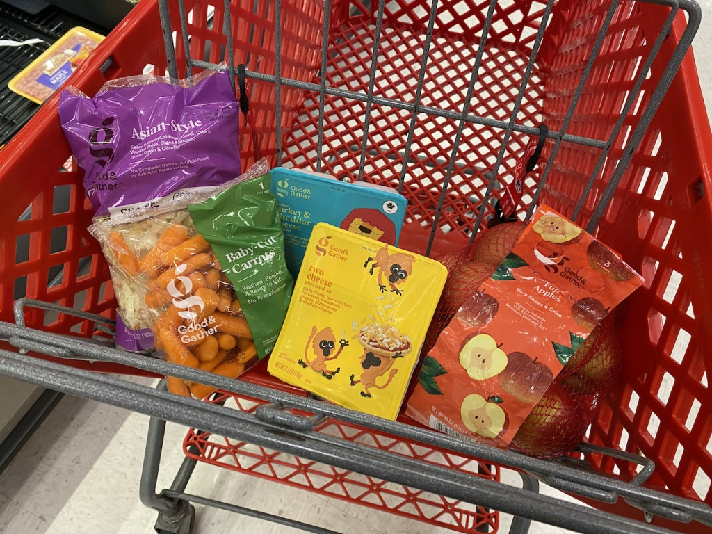 target cart with assorted good and gather produce items