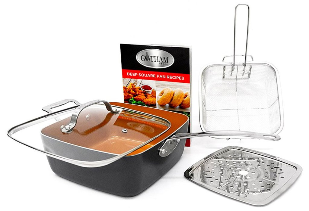 gotham steel cookware set with deep square pan, glass lid, steamer try, fry basket, and recipe book