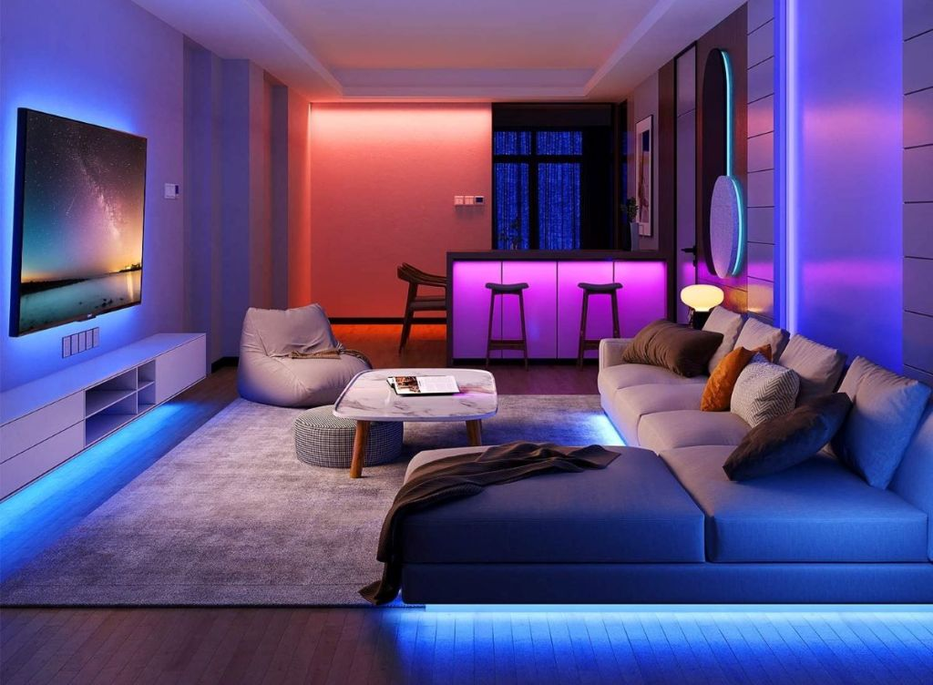 room with light strips with colorful lights