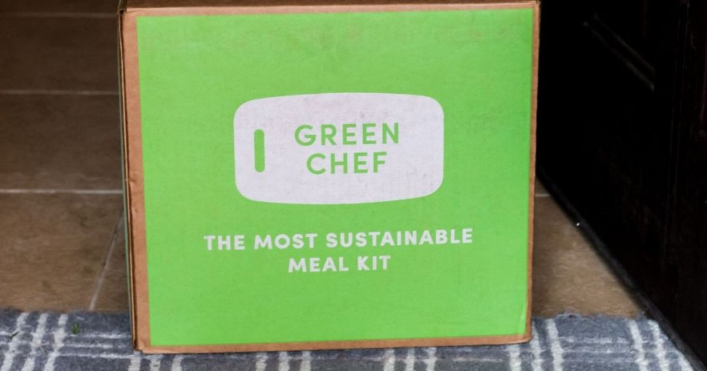 Green Chef box on a rug