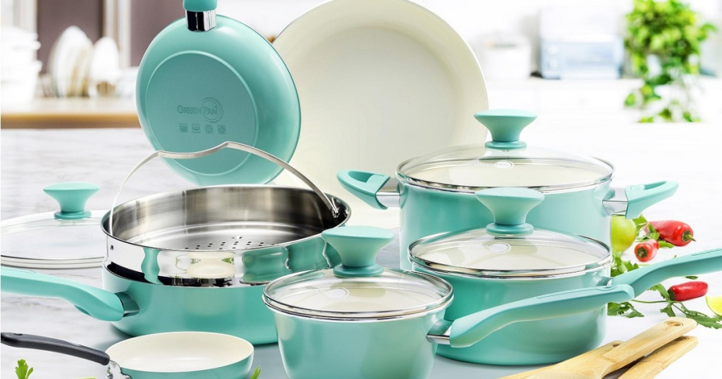 turquoise pots and pans in kitchen