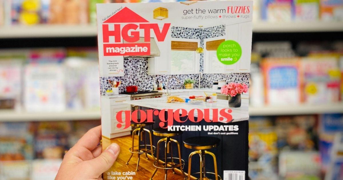 hand holding an HGTV magazine