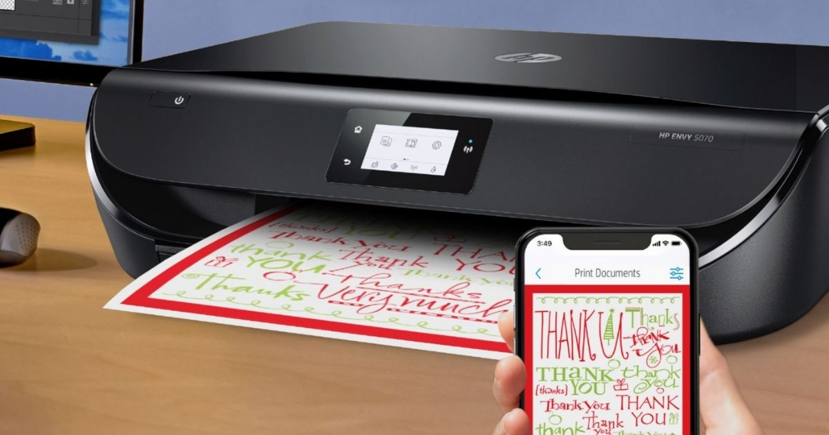 HP ENVY 5070 printer with smartphone