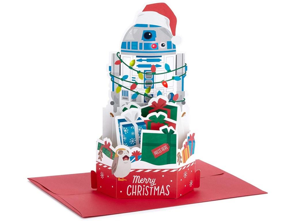 Hallmark Paper Wonder R2-D2 Star Wars Pop-Up Christmas Card w/ Music
