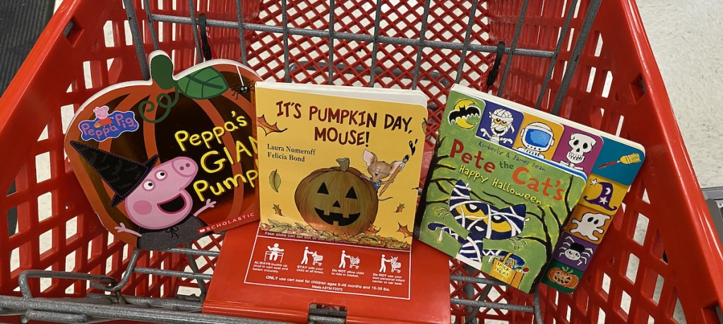 target cart with halloween books
