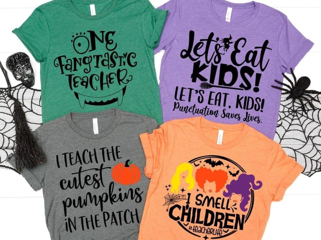 Four Halloween Teacher T-Shirts