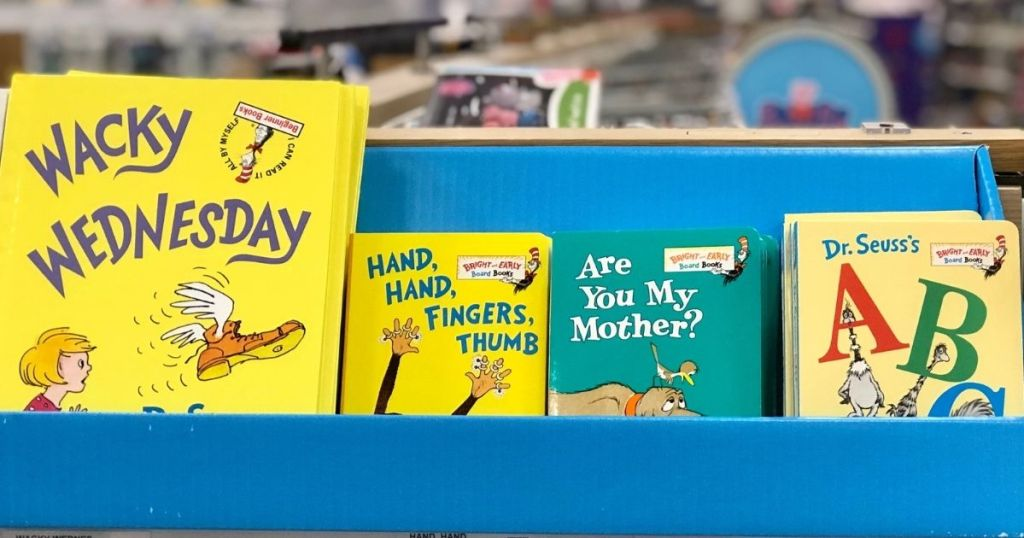 bookshelf in store with Dr. Seuss books