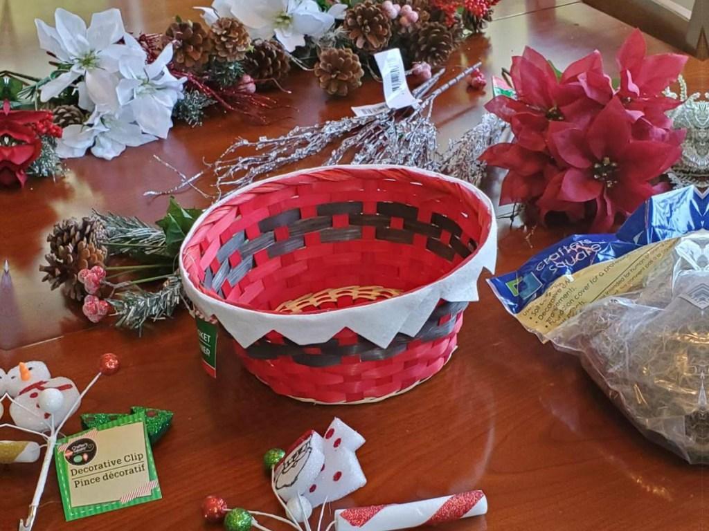 seasonal christmas dollar tree materials sitting on a kitchen table