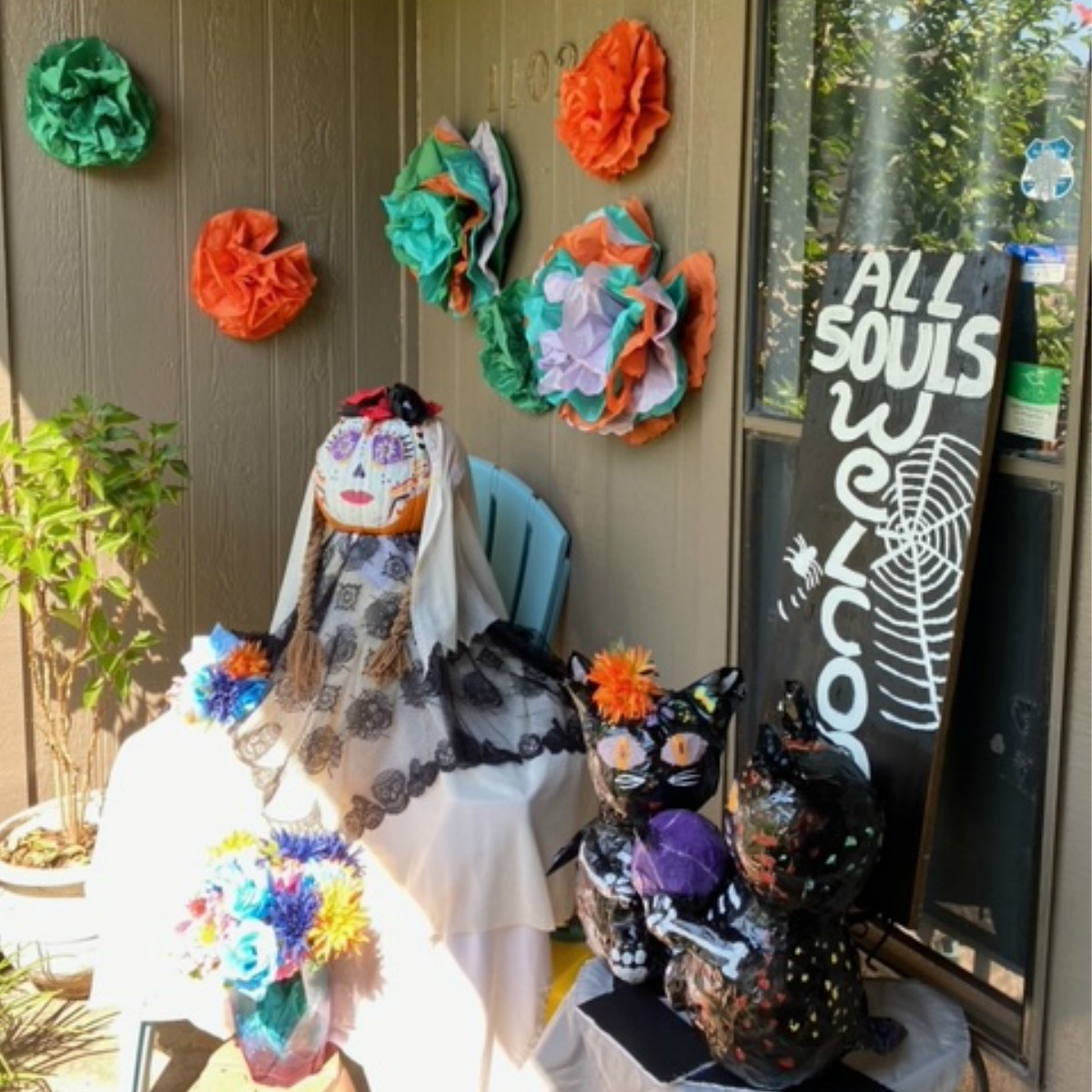 Porch display with homemade crafts