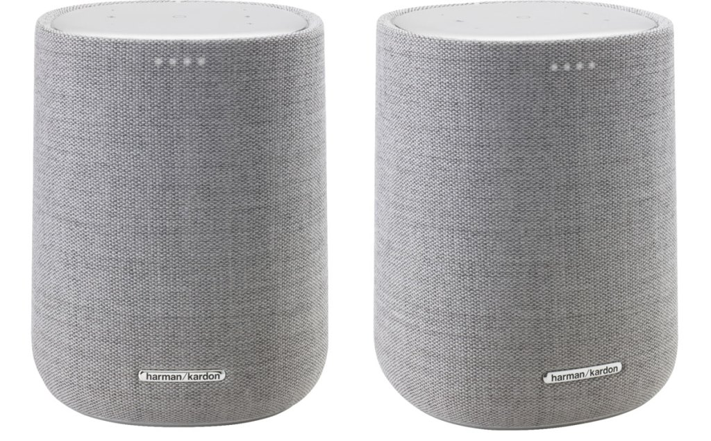 two views of a grey smart speaker