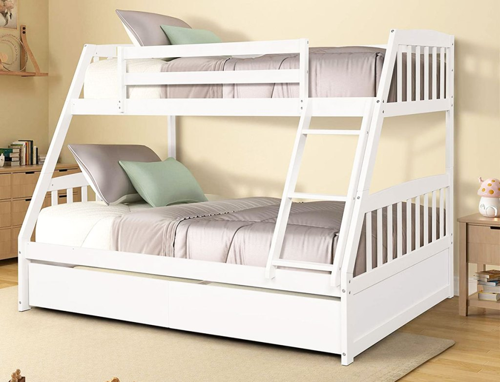 white twin over full size bunk bed with storage drawers at bottom