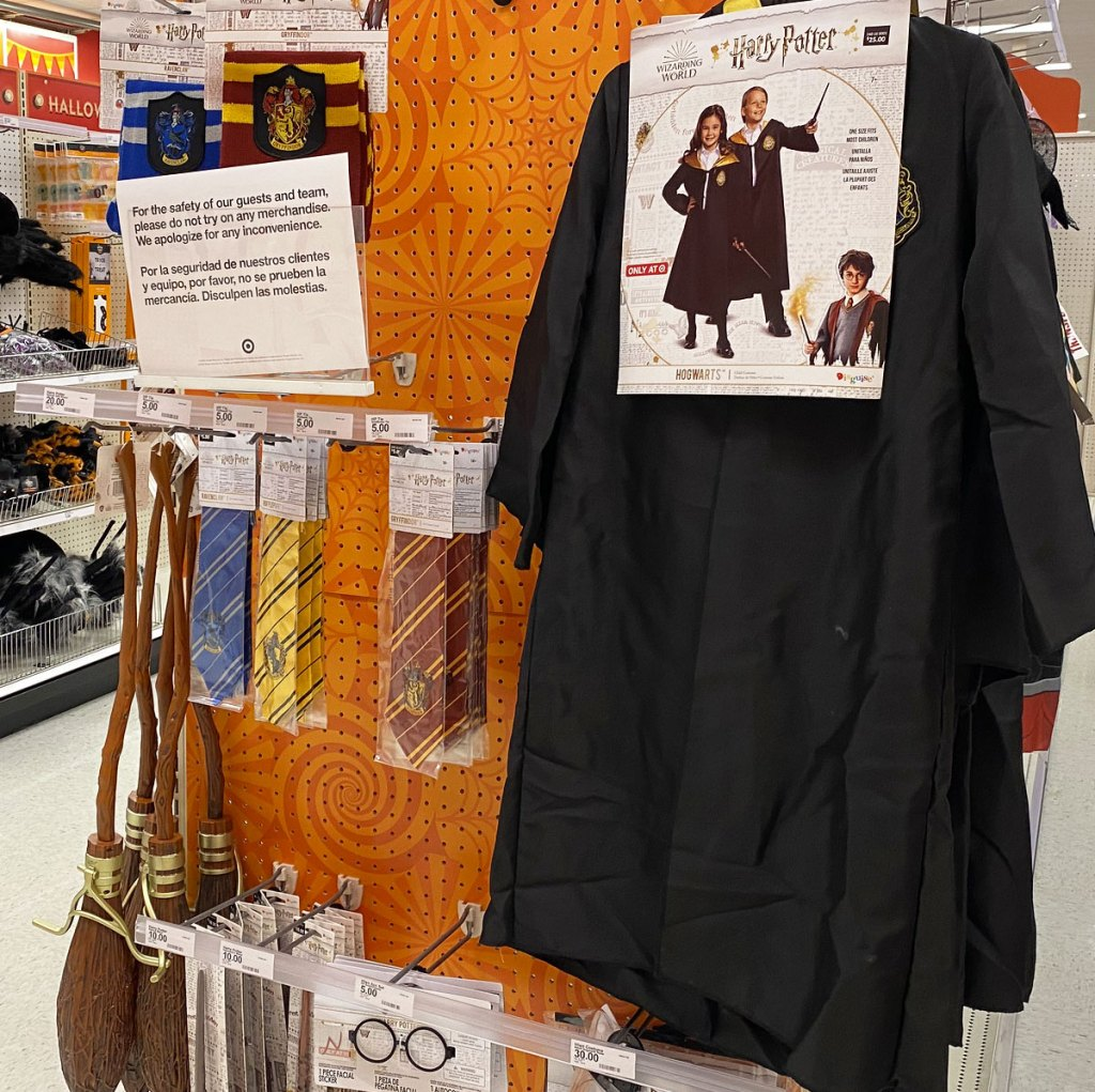 harry potter costume and accessories on display at target