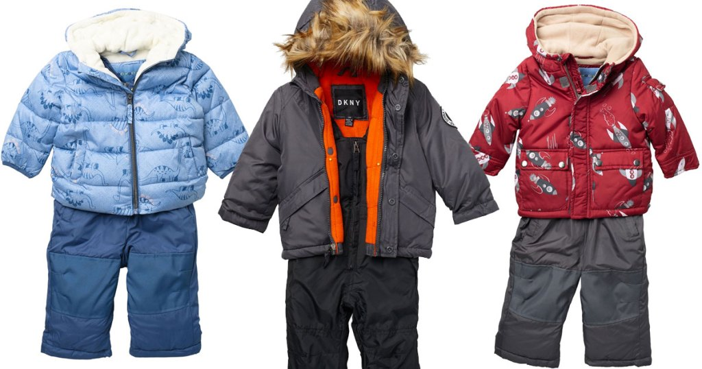 three sets of baby snowsuit sets with coordinating jackets and pants