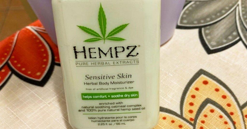 bottle of hempz sensitive skin lotion