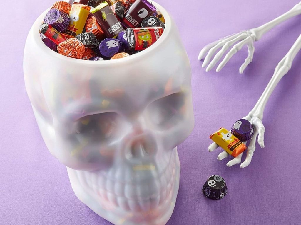 candy in white skull bowl