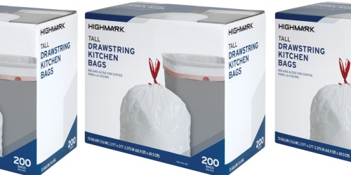 Drawstring Kitchen Trash Bags 200-Count Only $10 on OfficeDepot.com w/ Free Store Pickup (Regularly $22)