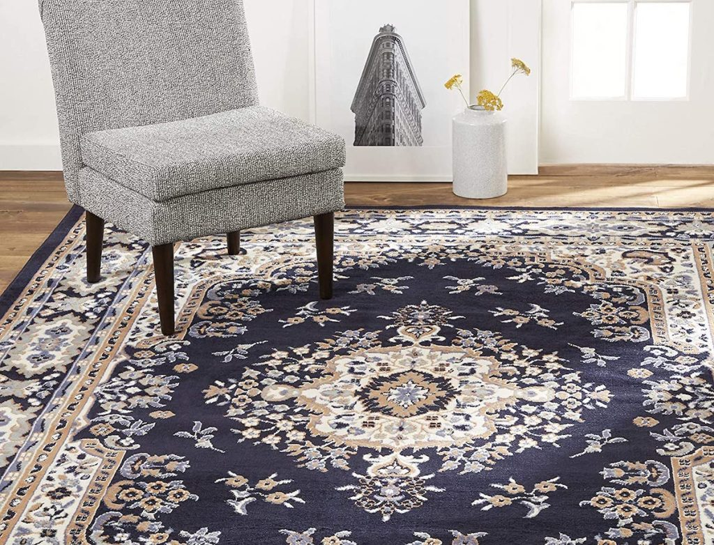 """blue, cream, and brown designed Home Dynamix Sakarya 7'8""""x10'7"""" Traditional Area Rug"""
