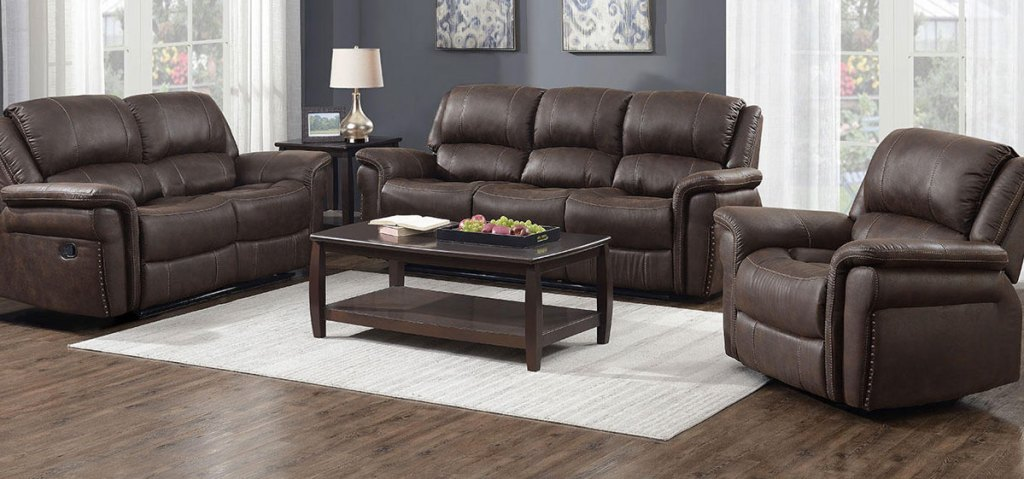 brown leather 3-piece matching living room set