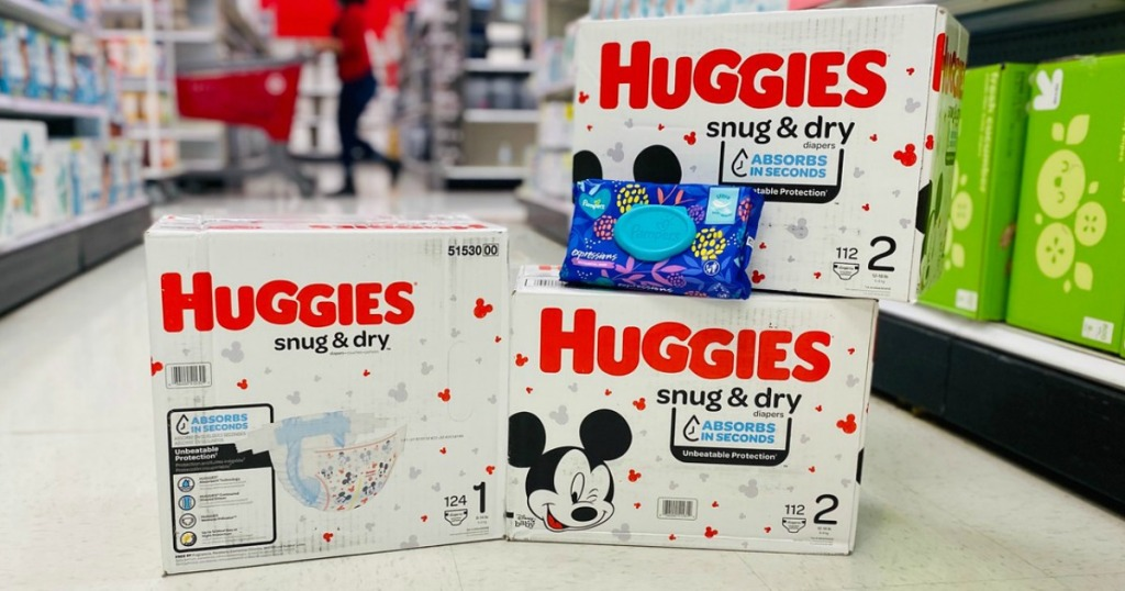 large amount of Huggies diapers on the floor in a store