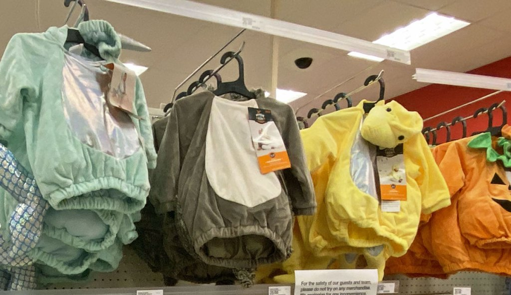 animal themed baby costumes on display at target