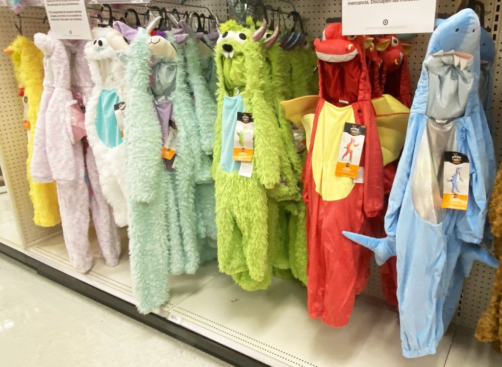 animal themed plush toddler halloween costume jumpsuits on display at target