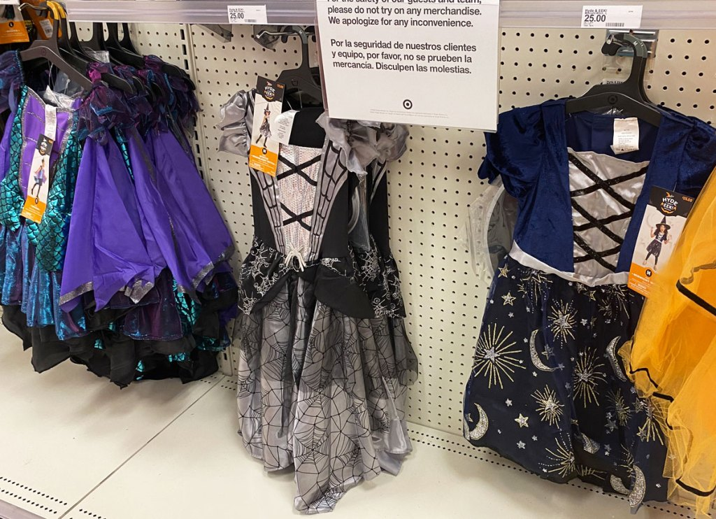girls witch costumes on display at target