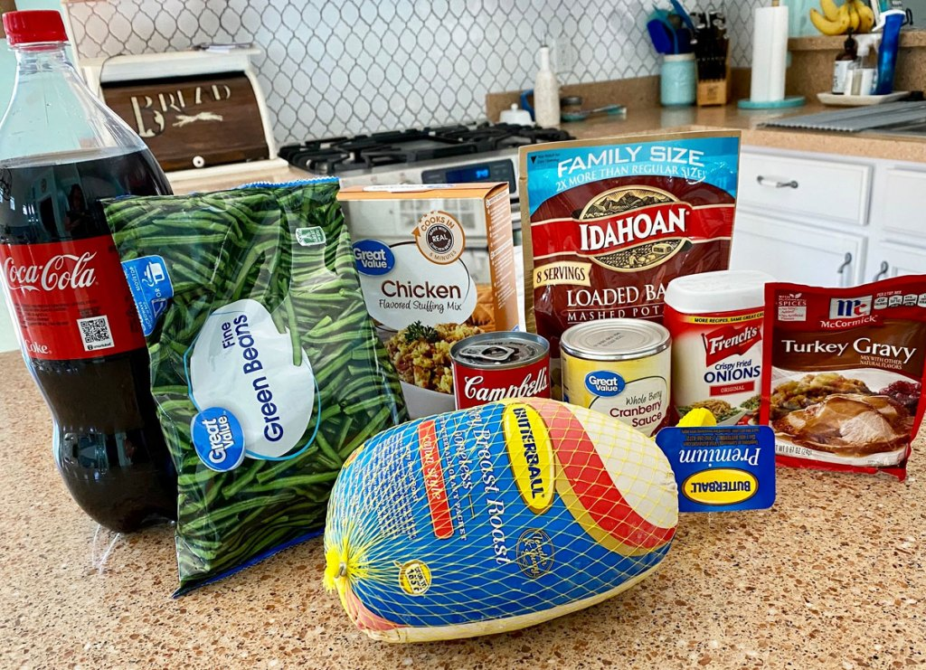 thanksgiving dinner ingredients on kitchen counter