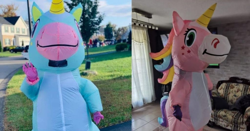 two images of people in inflatable unicorn costumes