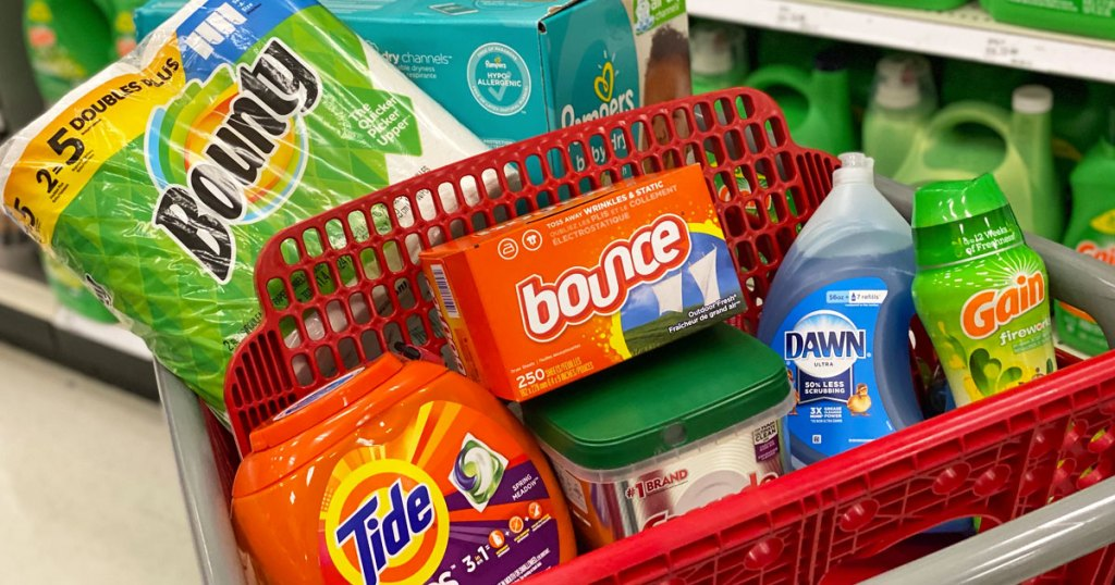 target shopping cart full of tide, bounce, dawn, bounty, gain, and cascade products