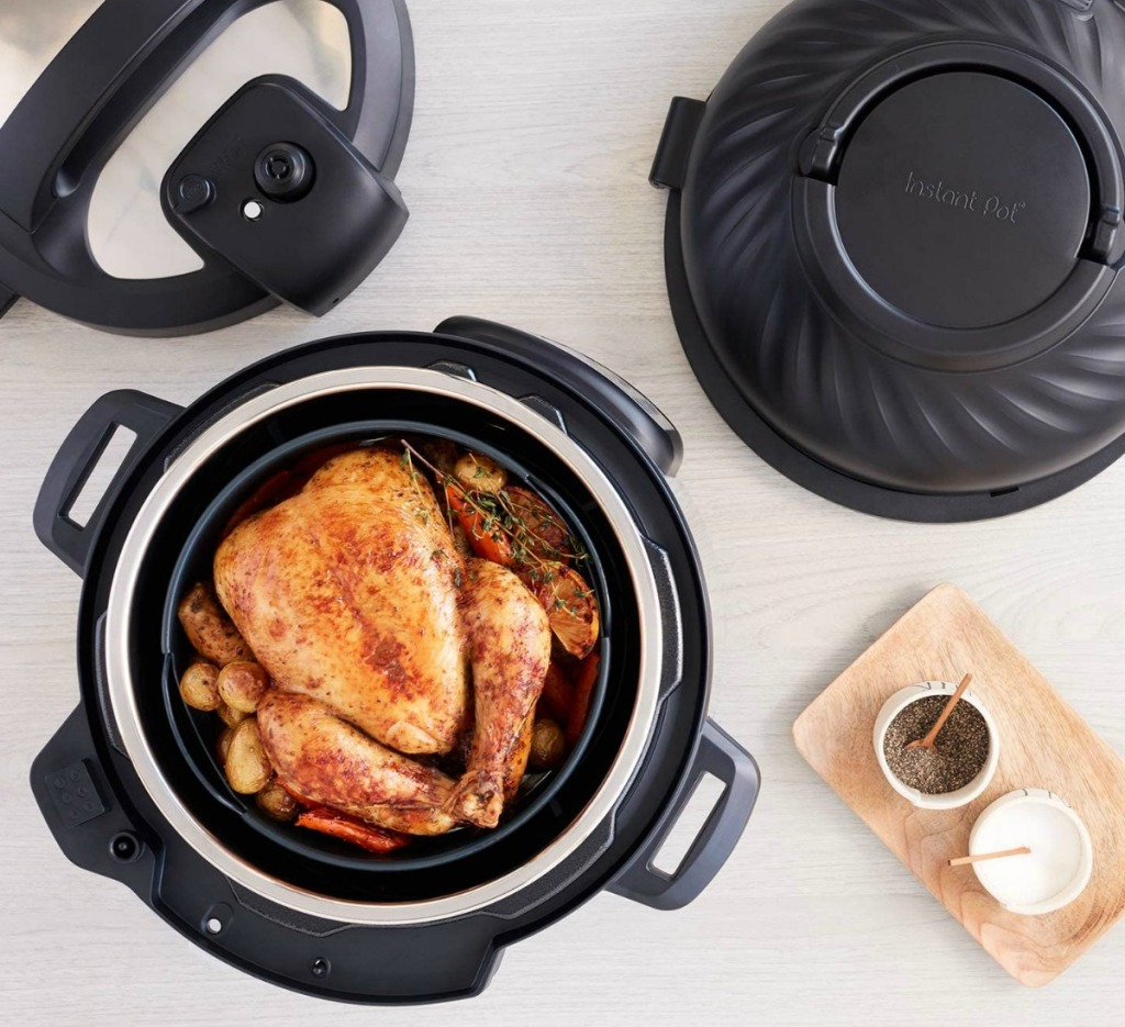 Large chicken in a pressure cooker - overhead view
