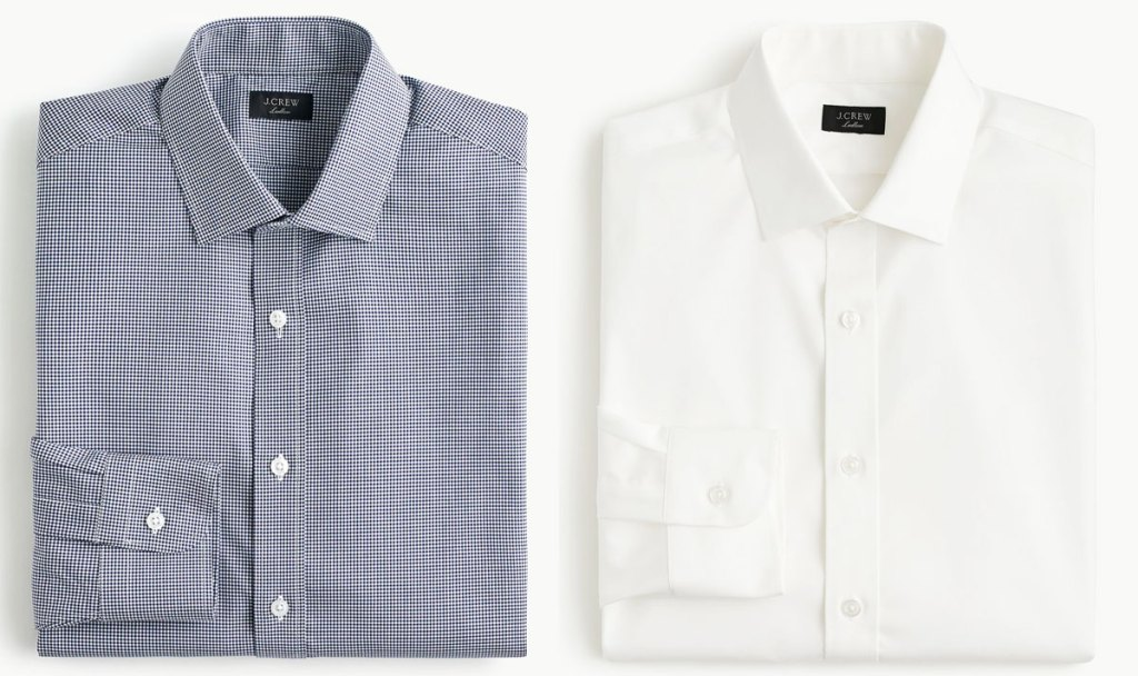 folded men's dress shirts in blue and white colors